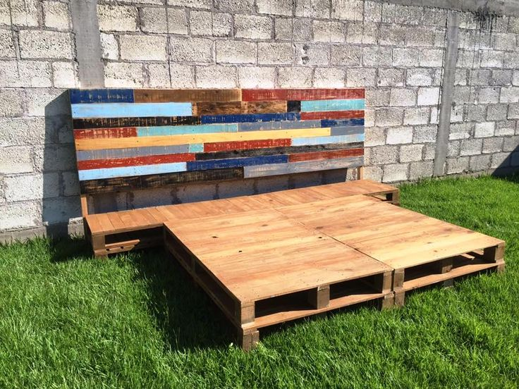 wooden pallet king size platform bed and headboard