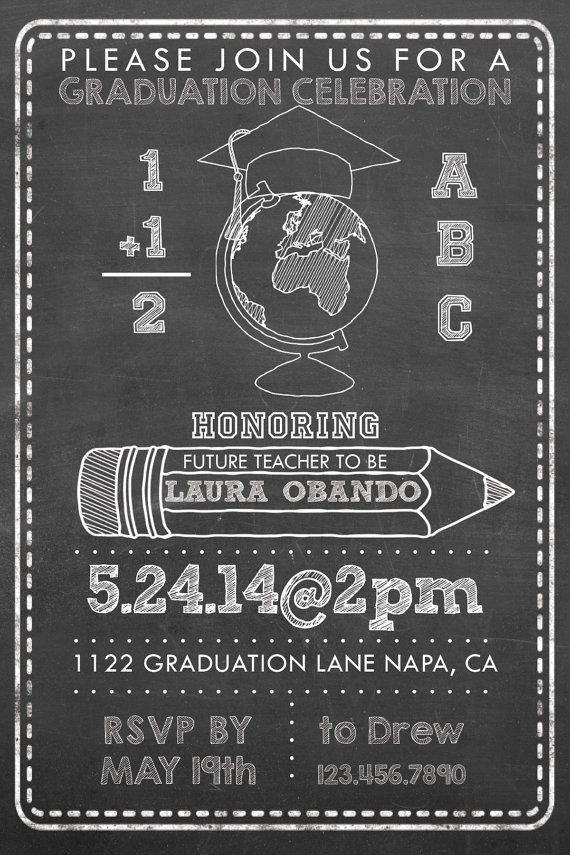 Chalk style Teacher Graduation Party Invitation by PuzzlePrints