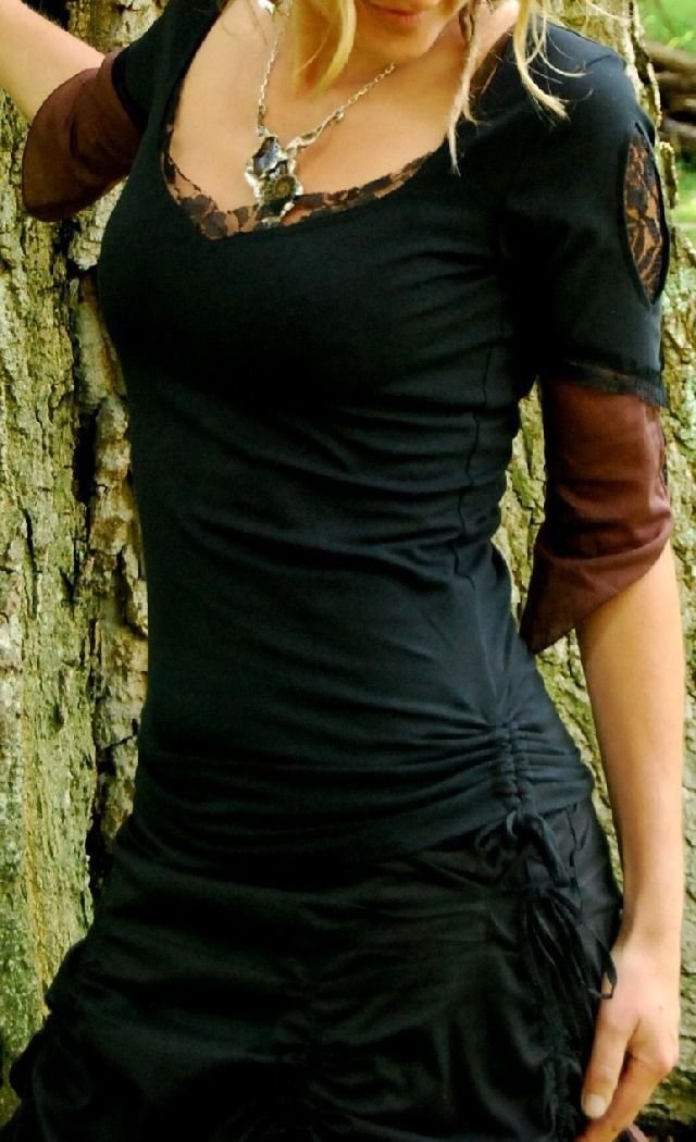 Lyssa Top, Goddess and Faerie Clothing, Funky Festival Clothing, Tribal Clothing with voile cut outs