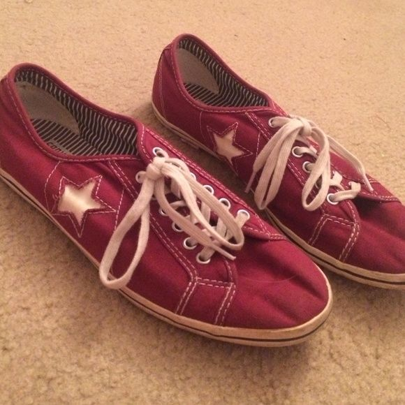 Lightweight red/maroon converse one star shoes They're more lightweight than normal converse. Womens size 9. Worn a few times but good condition Converse Shoes Sneakers