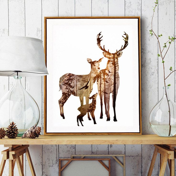 Animals Deer Forest Silhouette Minimalist Art Canvas Poster Room Decor Fa083a