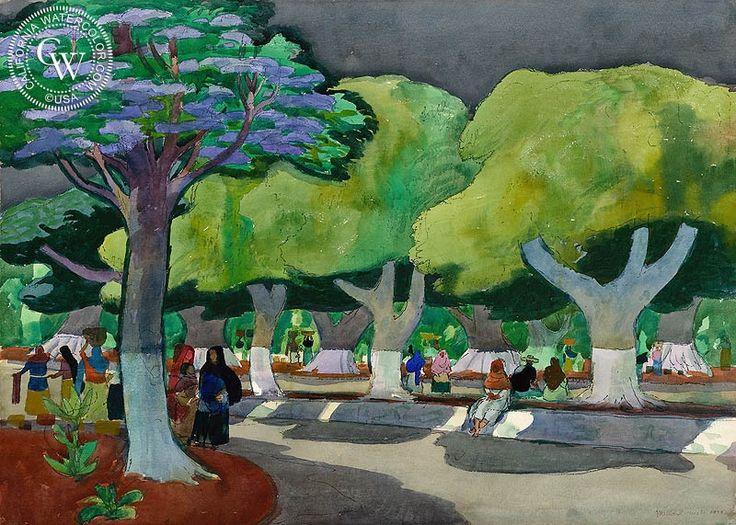 Millard Sheets - Noon, Chapala, Mexico, 1979, California art, original California watercolor art for sale, fine art print for sale, giclee watercolor print - CaliforniaWatercolor.com