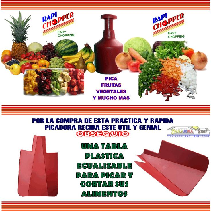 "Super Picadora De Verduras Y Frutas Rapi-chopper + Obsequio - $ 23.990 DESPACHOS A TODA COLOMBIA ""ENVIO GRATIS"" - TIEMPO DE ENTREGA DE 24 A 48 HORAS. - PAGOS DEBITO BANCARIO ""PSE"" - TARJETAS DE CREDITO O EN EFECTIVO POR VIA BALOTO, SIN SOBRE-COSTOS DE GIRO O REMESA. -CONTACTO: –(CELULAR, Whats App: 3006392167) 0 cel 2: 3174489307 – BOGOTA D.C E-mail: dakajomashop@hotmail.com"