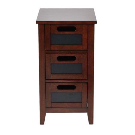 OSP Designs Avery Chalkboard Chair Side Table, Saddle, Brown