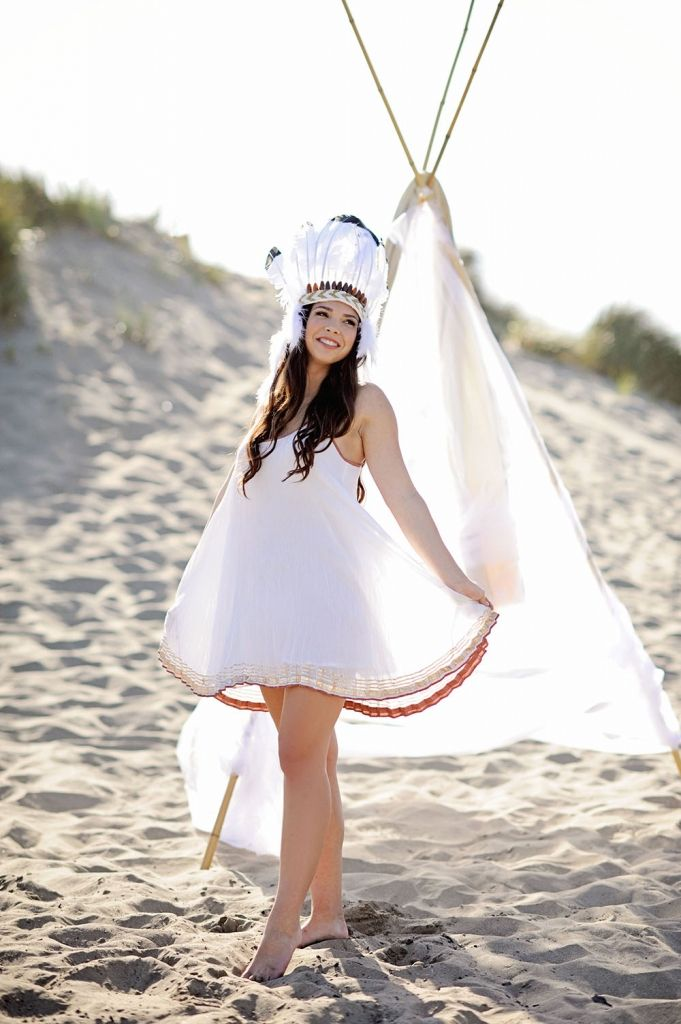 #Senior Portrait #Styled Senior portrait # Indian headdress #Native American #beach photos #Free people dress #teepee #photography #photos of women