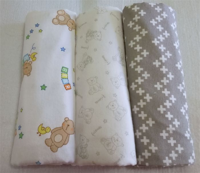 Flannelette wrap / swaddle / receiving blanket, pack of three. Teddy Bears