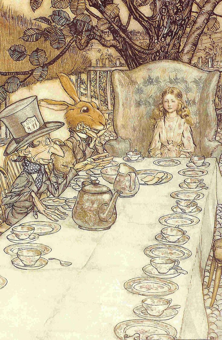 The Mad Tea Party, from Arthur Rackham's 1907 illustrations for Alice's Adventures in Wonderland