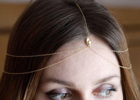 Layered Chain Headpiece, Bridal Headpiece, Crystal Teardrop Headpiece, Head Chain, Hair Jewelry, Bohemian, Hippie
