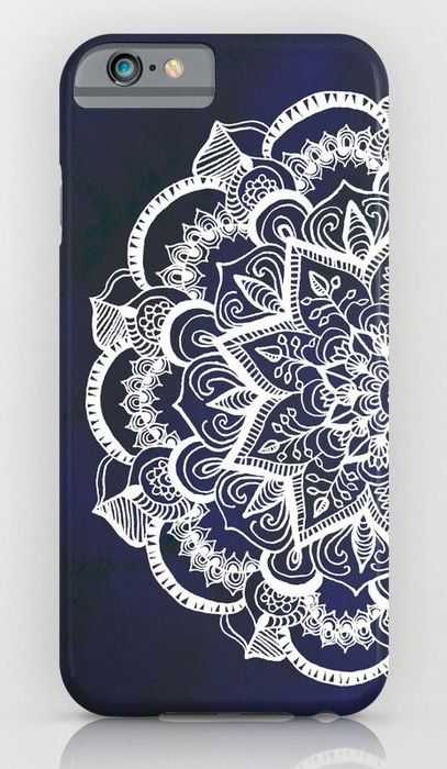 White Feather Mandala on Navy iPhone & iPod Case