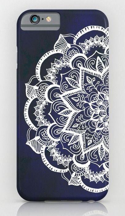 White Feather Mandala on Navy iPhone & iPod Case