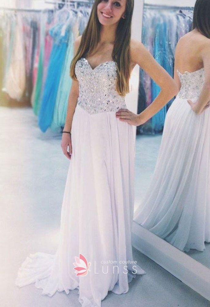 c9938b9a80 Sparkly crystals beaded strapless sweetheart low back white chiffon prom  dress