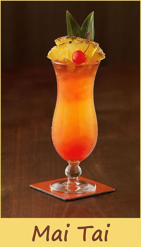 A timeless cocktail Ingredients 1 oz light rum 1 oz dark rum 1/2 oz lime juice 1/2 oz orgeat syrup 1/2 oz pineapple juice 1 oz orange curacao maraschino cherry and pineapple slice for garnish source: http://cocktails.wikia.com/wiki/Mai_Tai Related