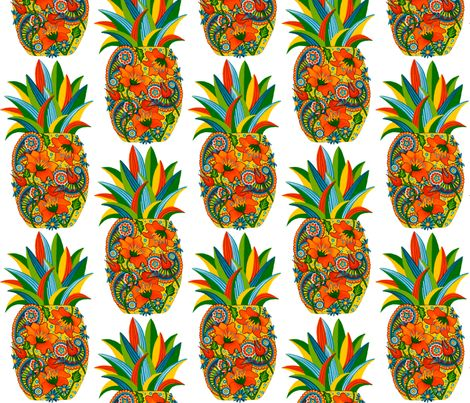 Pineapple_Flower_Paisley fabric by quirkyhappyart on Spoonflower - custom fabric