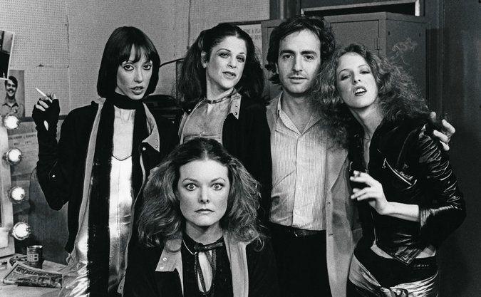 Shelley Duvall, Jane Curtin, Gilda Radner, Lorne Michaels, and Laraine Newman (1977)