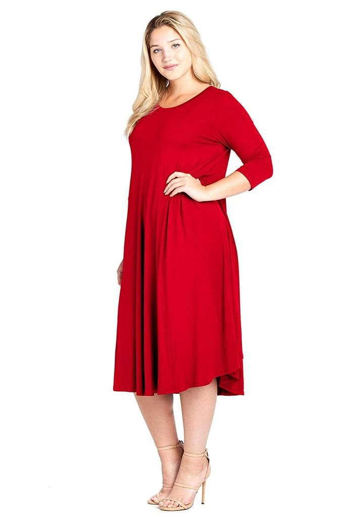 5f29e6be998b Modern Kiwi Women's Plus Size Long Sleeve Flowy Maxi Dress for curvy women.  Crafted from soft rayon, our Flowy Dress is designed with a relaxed A-line  ...