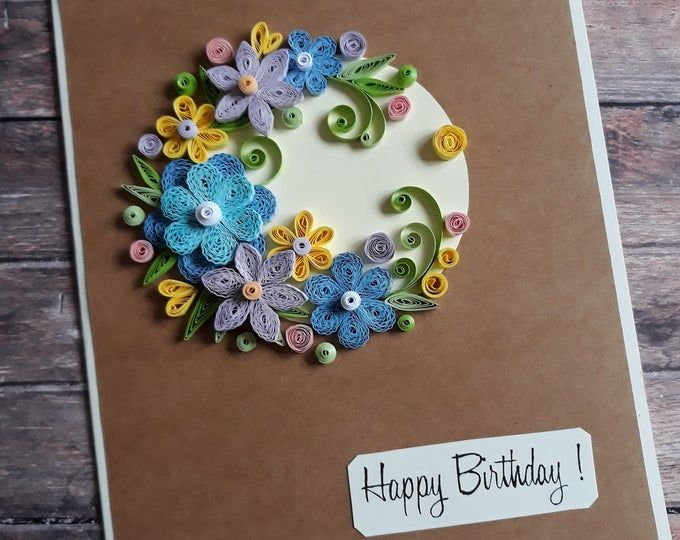 Quilling Wedding Card With Blue And Beige Flowers Birthday Etsy