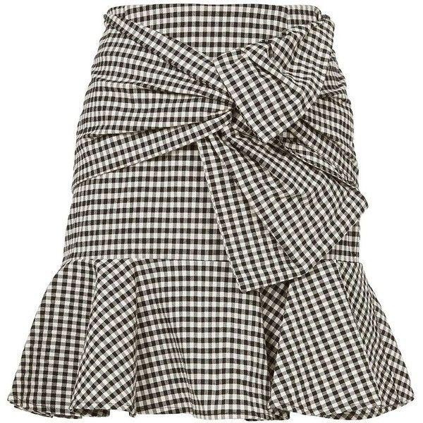 Veronica Beard Women's Gingham Picnic Box Mini Skirt (£310) ❤ liked on Polyvore featuring skirts, mini skirts, saias, brown striped skirt, zipper mini skirt, zipper skirt, short skirts and veronica beard