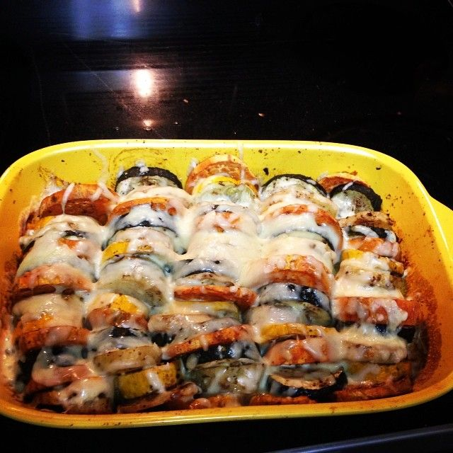 #lowfat vegetarian tian- zucchini, sweet potato, potato and low fat mozzarella cheese  Based on this recipe: http://www.budgetbytes.com/2011/08/summer-vegetable-tian/