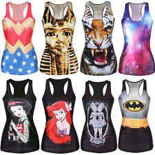 Women Gothic Punk Clubwear  Cami T-Shirt Chic-Look Print Tank Top Vest Blouse
