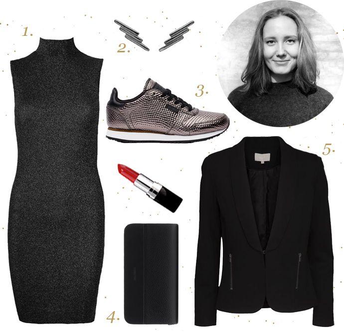 Marits nytårsoutfit: 1. Tuq Maxi kjole fra Mads Nørgaard 2. Stewardess øreringe fra Enamel 3. Ydun Metallic sneakers fra Woden 4. Galax Miniature Caviar pung fra Royal Republiq 5. Simantha blazer fra Minus #enamel #woden #sneakers #royalrepubliq #minus_fashion #madsnoergaard #superlovedk #superlove #festkjole