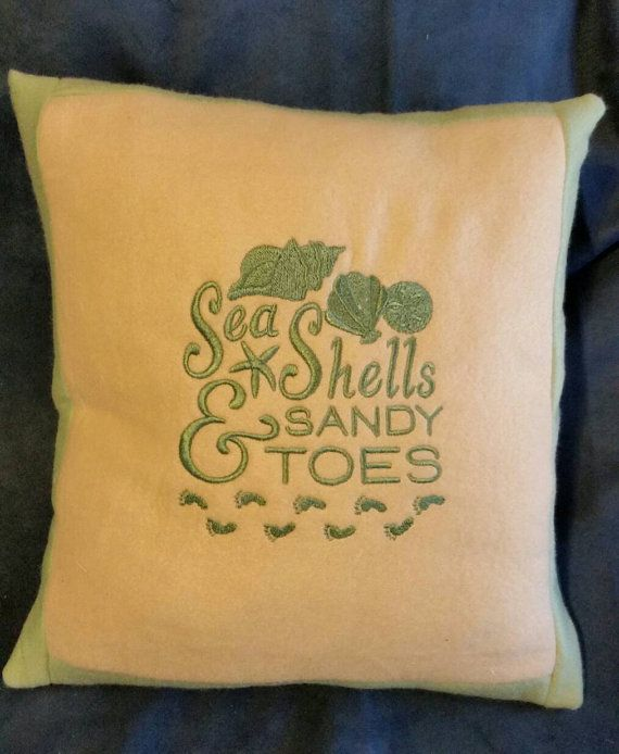 Charming Sea Shells And Sandy Toes Embroidered Handmade Pillow Cover Back Is White  Cotton With Flip Flops And Beach Scenes