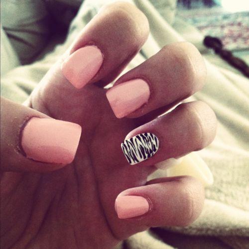 Im thinking peach with white zebra on one nail