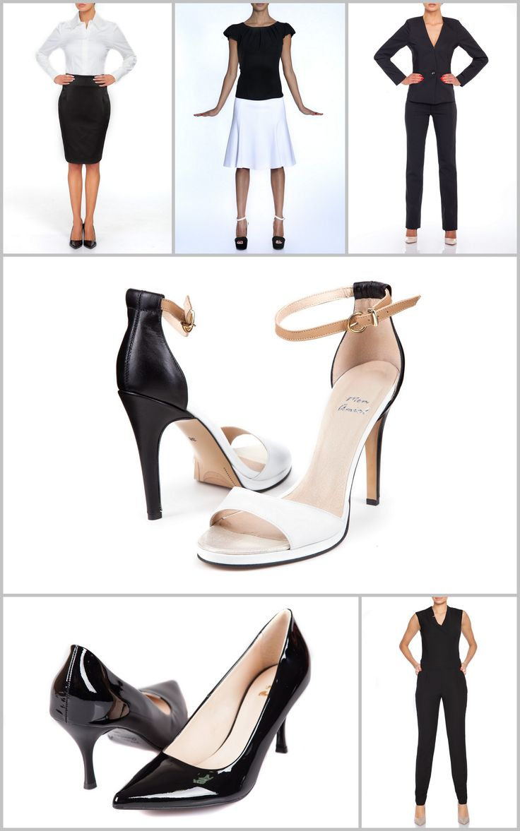 A stylish back to the office!  Black and white is always the best solution at work. Which is best? - black jumper? - black-white set of a skirt and a classic shirt - black suit  - or more casual: flimsy white skirt and a delicate black blouse  I hesistate between standard pumps and black and white sandals