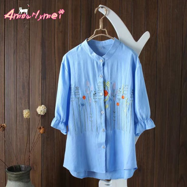 >> Click to Buy << Amourlymei Mori Girl 2017 Summer New Japanene Style Flowers Grass Embroidery Loose Casual Linen Short Sleeve Cardigan Shirt Tops #Affiliate