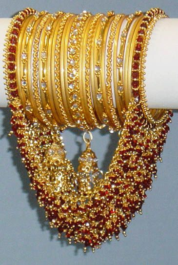 indian hair jewelry | Indian,Indian Maroon & Gold Bangles with Jhumkas & Loop Choorian Churi ...