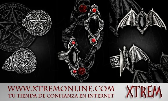 También hemos traído recientemente anillos góticos y victorianos: Cuervos, murciélagos, ataudes... Aquí están todos: http://www.xtremonline.com/es/245-anillos