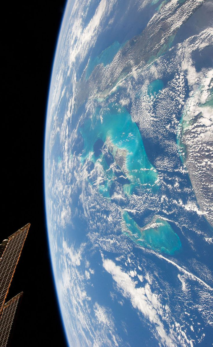 A photograph taken by a member of Expedition 34, aboard the International Space Station, looking down on the Bahamas from...