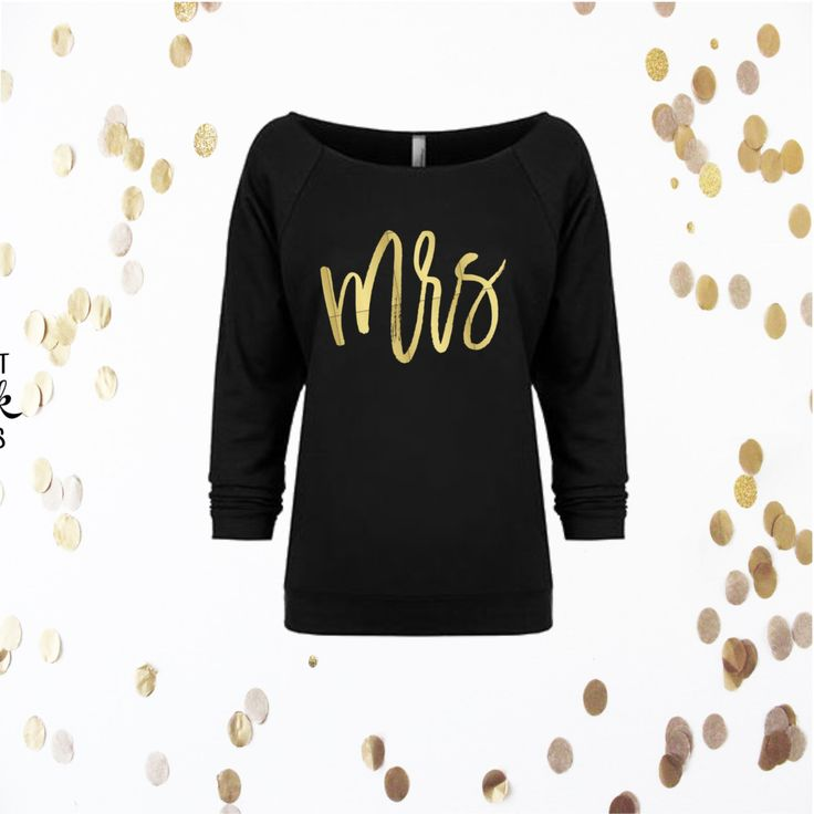 Mrs Sweatshirt 3/4 sleeve terry raw edge top, Newly Wed Sweatshirt, S-2XL, Off the shoulder, Bride Sweatshirt, Bridal Apparel, Wedding by RomanticSouthern on Etsy
