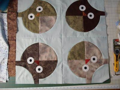 More owls/ large drunkards path die--if only my grandmother could make a quilt like this for me
