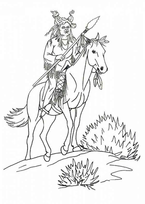 Native american day native american riding a horse on native american day coloring page native american riding a horse on native american day coloring