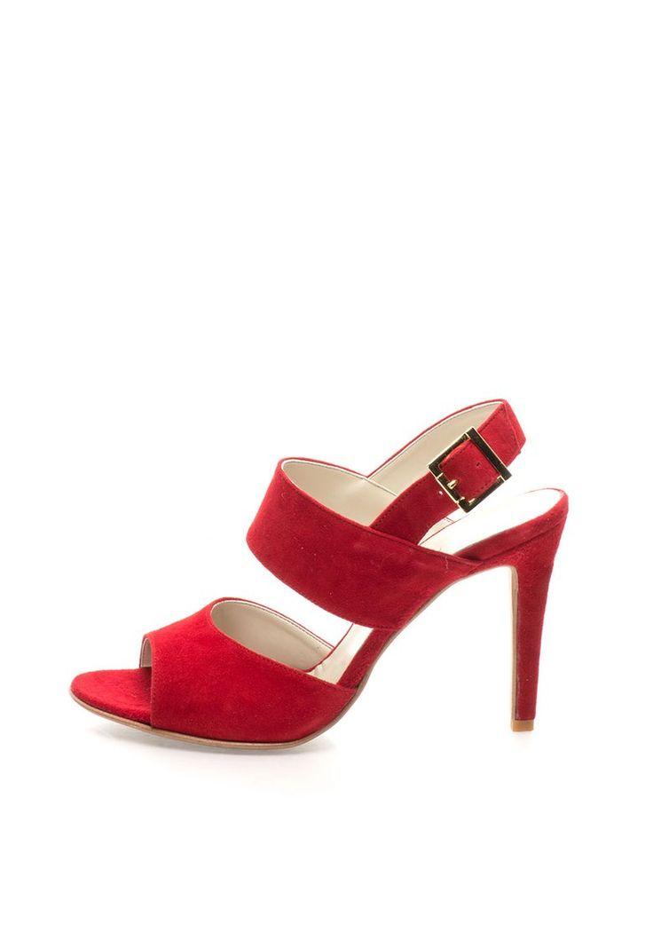 Sandale rosii din piele intoarsa - Zee Lane