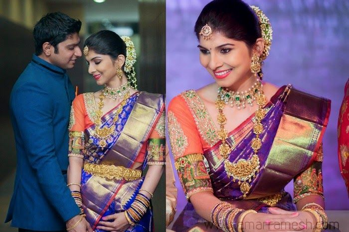 South Indian bride. Temple jewelry. Purple and orange silk kanchipuram sari. Braid with fresh flowers. Tamil bride. Telugu bride. Kannada bride. Hindu bride. Malayalee bride.
