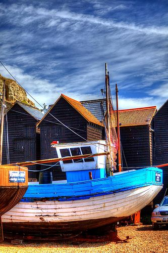 Boats and Nethouses, Hastings, East Sussex, England, United Kingdom