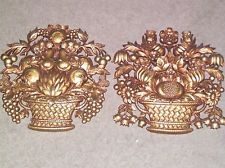Lot 2 Vintage 1967 Syroco Gold Tone Wall Art Plaque USA Fruit Flower Basket