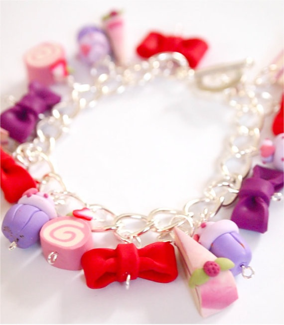 Polymer clay Charm Bracelet pink Miniature by timeforteabeads