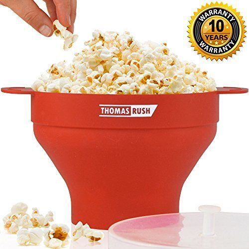 HEALTHY CHOICE - NO OIL NEEDED. When you use popcorn popper for microwave you have the choice to add oil/butter before or after popping, but it's never required. WONDERFUL QUALITY & WELL-DESIGNED SHAPE of silicone bowl make this silicone popcorn popper one of the best microwave popcorn makers for home in its class. BEAUTIFUL RED COLOR of the microwave popcorn bowl lifts your spirits, and delightful box makes it an excellent gift.