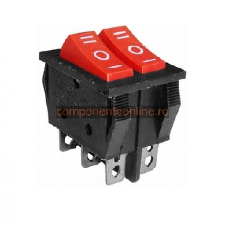 Comutator dublu, ON-OFF-ON, 15A, 250V, 37x31x25mm - 170754