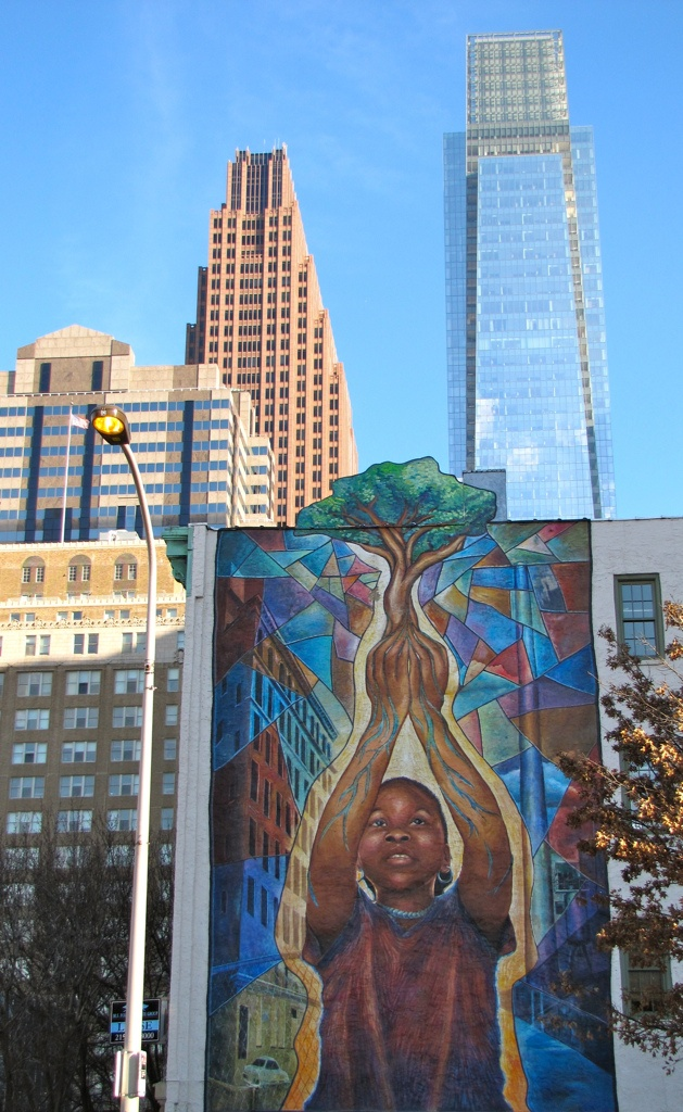 "Mural in Philly - titled ""Reach High and You Will Go Far"" which is located at 20th & Arch Street."