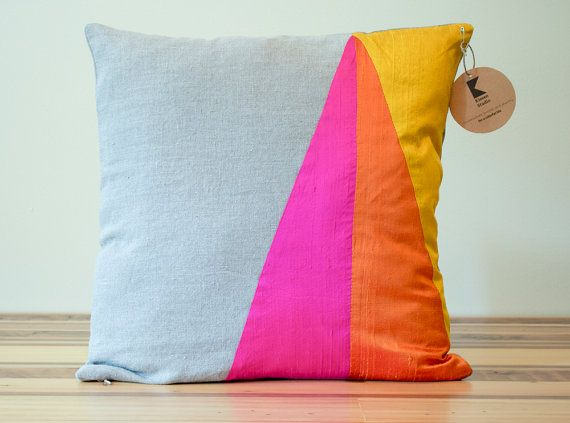 Neon Triangles Geometric Silk by KissenStudio, $41.25