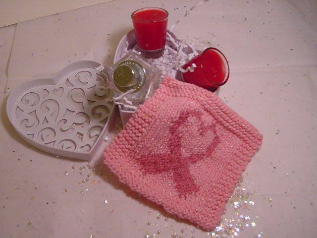 Breast Cancer Dishcloth Knitting Pattern : Ribbons of Hope Knit Pattern Knitting Patterns Pinterest Knit patterns,...