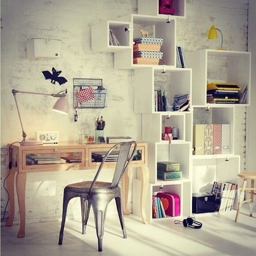 Add some personality to your study space with clever layout on shelves