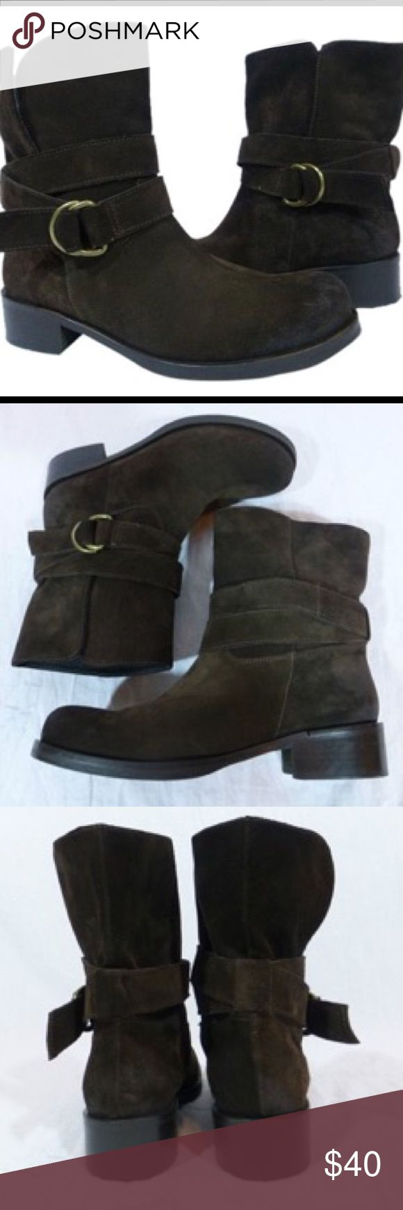 Latitude Brown Suede Buckle Ankle Boots Brown suede ankle boots with a buckle on the outside Shoes Ankle Boots & Booties