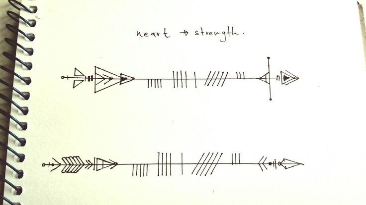 Drew an arrow with ogham writing on it. The gaelic word neart means strength