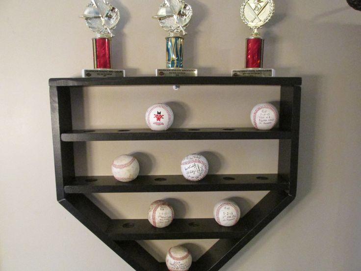 baseball shelf, hanging shelf, baseball display, baseball decor, kids baseball room, baseball storage, kids storage, home plate shelf, by BarleyMoonSalvage on Etsy https://www.etsy.com/listing/201992168/baseball-shelf-hanging-shelf-baseball