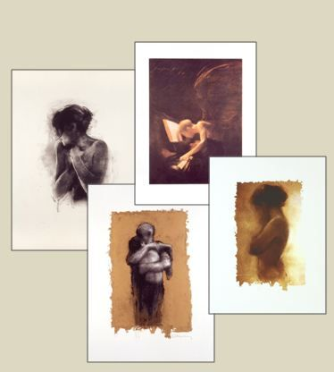 Charlie Mackesy   Limited Edition Signed Lithographs   £900 each (clockwise from left: Antonia, Angel & Piano; Girl on Gold; Return of the Prodigal Son)