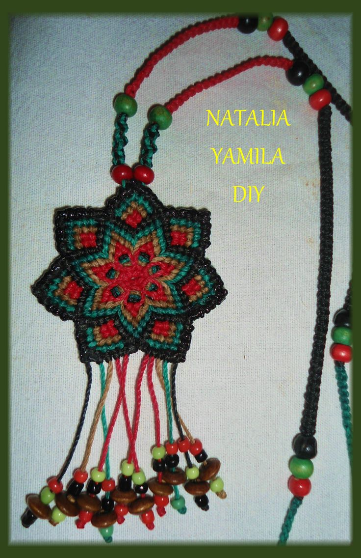 Collar Mandala flor macrame artesanal mostacillas cuentas madera Handmade collar flower mandala wooden beads TUTORIAL